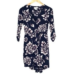 Band of gypsies navy blue floral wrap dress